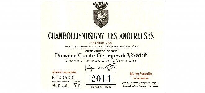Chambolle-Musigny 1er cru Les Amoureuses 2014